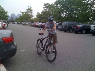 Charlie back from bike riding around Liberty State Park