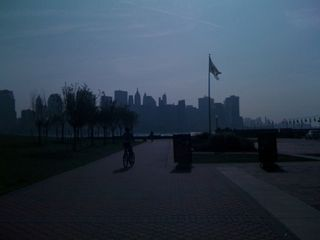 Charlie and Jim riding bikes at Liberty State Park across from lower Manhattan