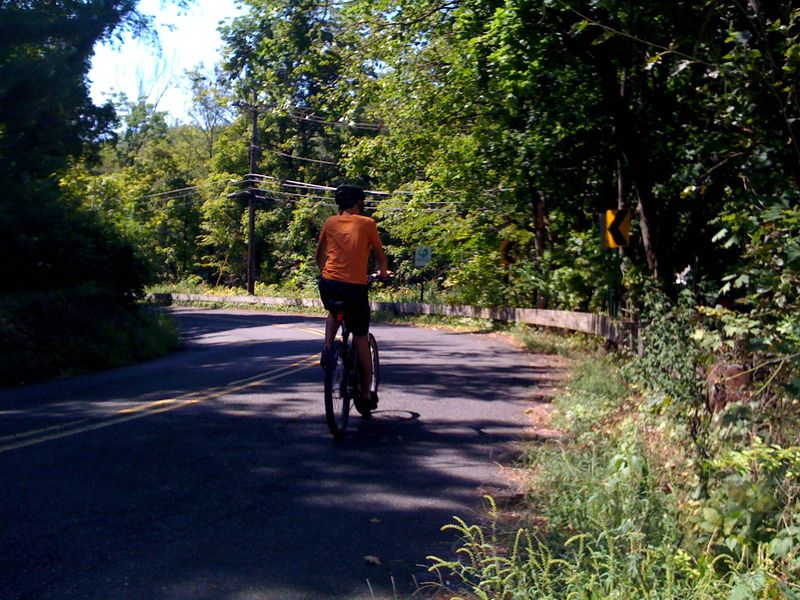 Charlie's off on the D & R Canal bike trail