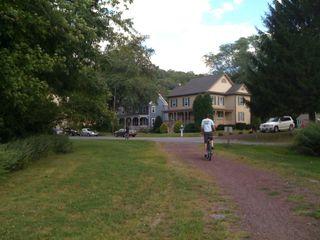 Charlie leading Jim onto the bike trail